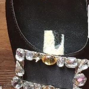 Magnolia Shoes - Magnolia Black Satin Rhinestones Slingback heel S8